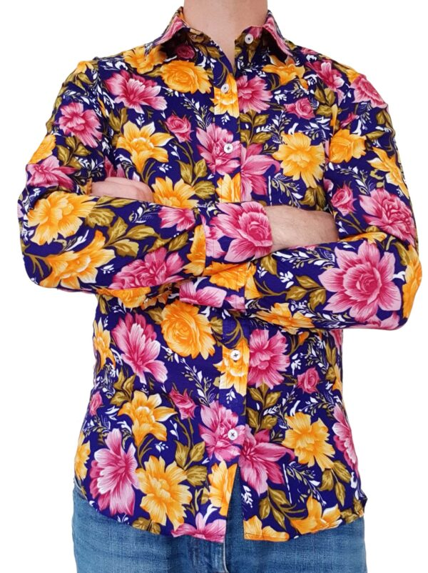 Bent Banani - Single Design Floral Shirts | Gold & Pink Flowers On Purple