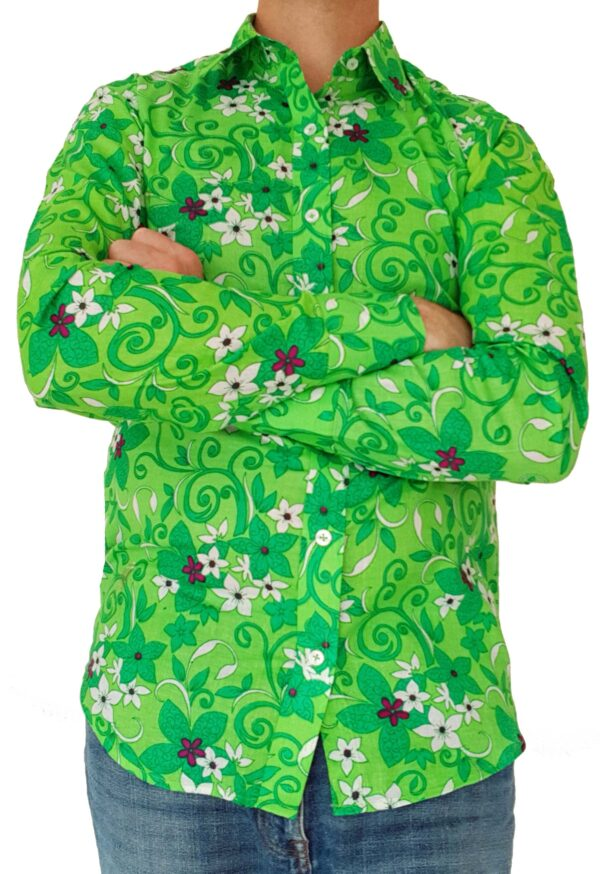 Bent Banani - Single Design Floral Shirt | Long Sleeve | Green & White Flowers On Lime Green