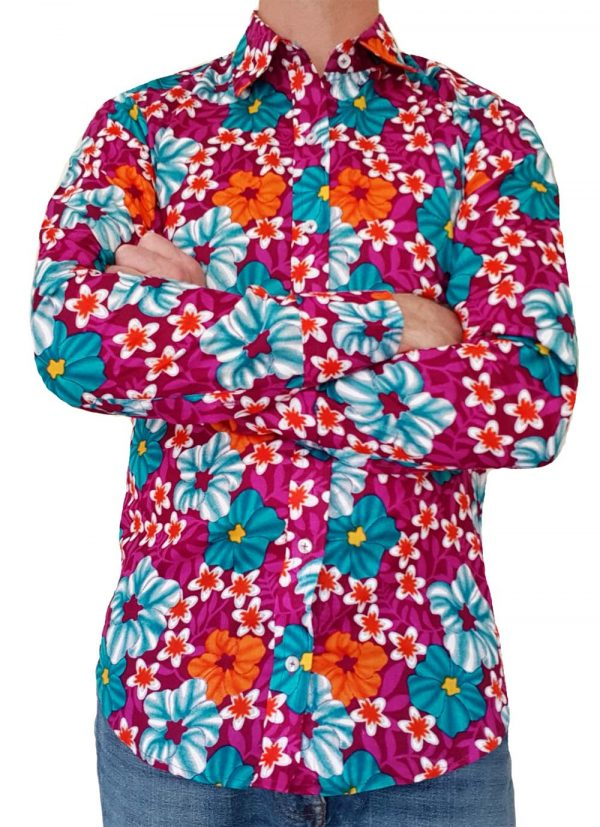 Bent Banani - Single Design Floral Shirt | Long Sleeve | Blue Orange White Pink Flowers On Purple