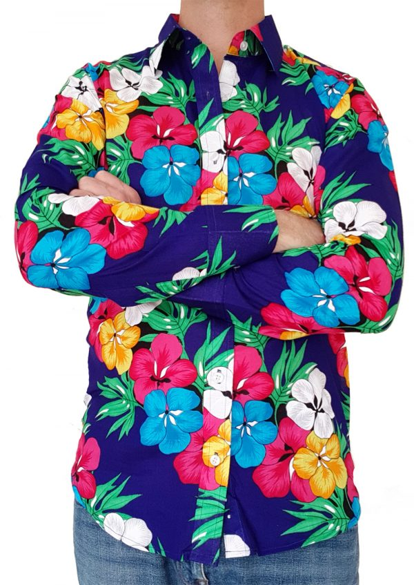 Bent Banani - Single Design Floral Shirt | Long Sleeve | Blue Yellow PInk & White Flowers On Navy Blue