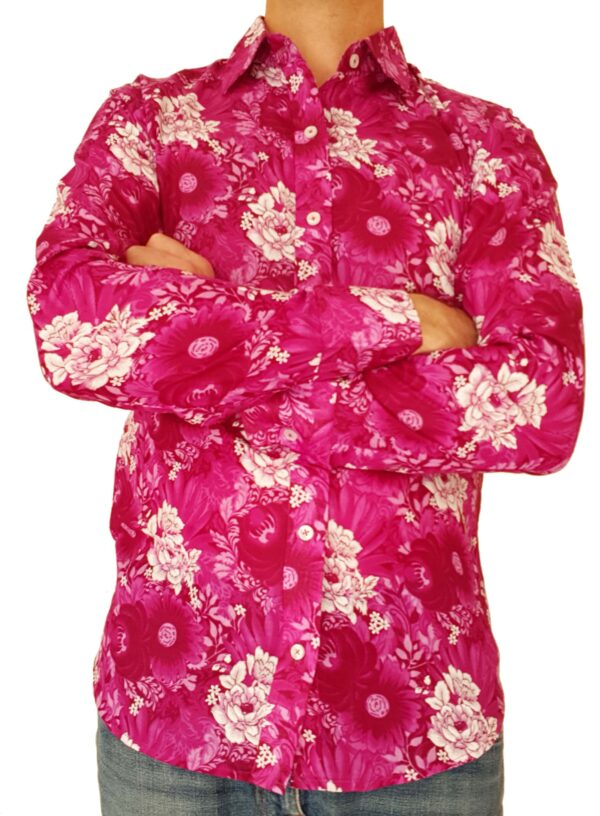 Bent Banani - Single Design Floral Shirt | Long Sleeve | Pink & White Flowers On Pink