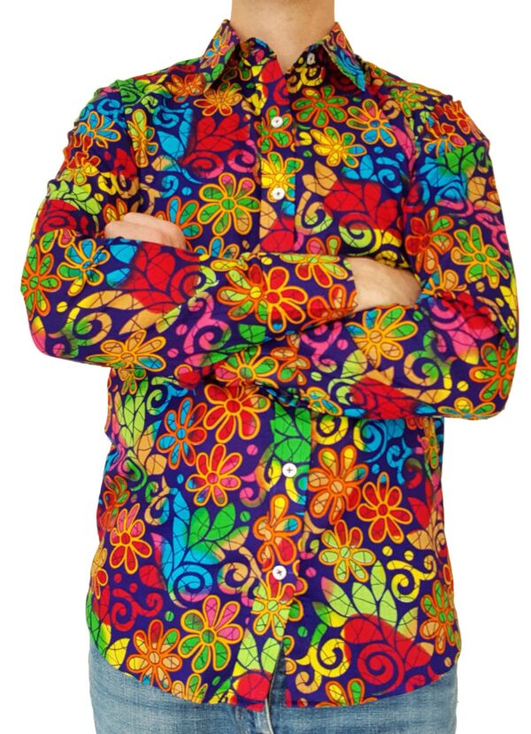 Bent Banani - Single Design Floral Shirt | Long Sleeve | Blue Red Green Yellow Flowers On Navy Blue