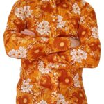 Bent Banani - Single Design Floral Shirt | Long Sleeve | White & Gold Flowers On Yellow